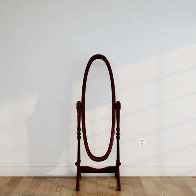 59-1/4 in. H x 20 in. W Cheval Framed Floor Mirror in Cherry