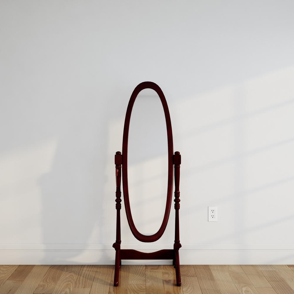 59-1/4 in. H x 20 in. W Cheval Framed Floor Mirror in Cherry