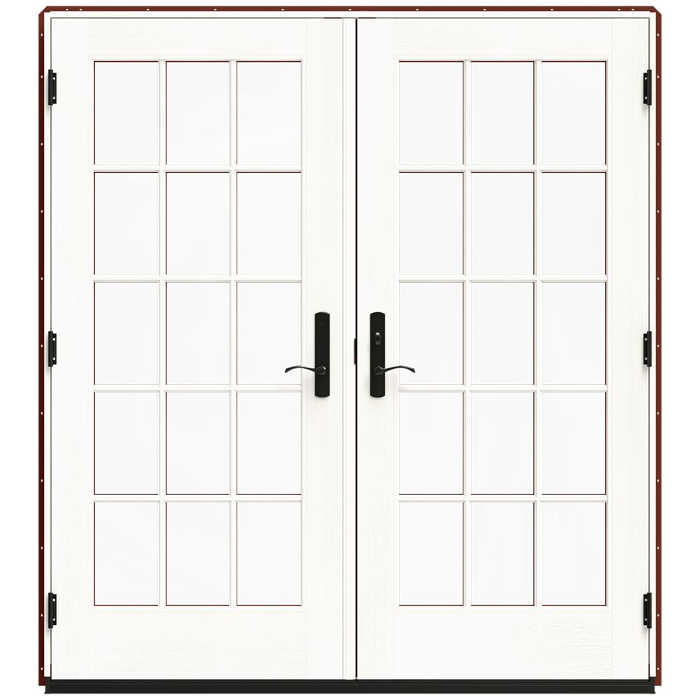 jeld wen 72 in x 80 in w 4500 red clad wood left hand 15 lite french patio door w white paint. Black Bedroom Furniture Sets. Home Design Ideas