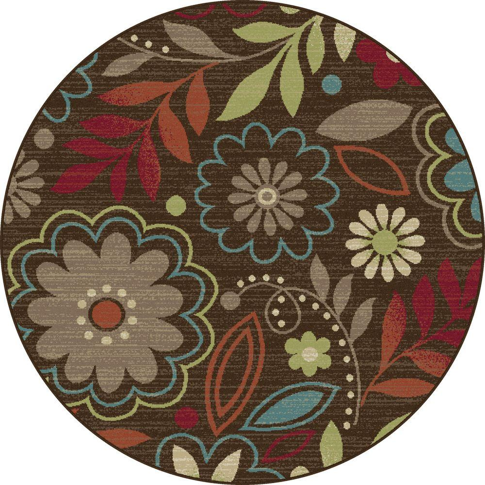 Tayse Rugs Deco Brown 7 ft. 10 in. Round Transitional Area Rug