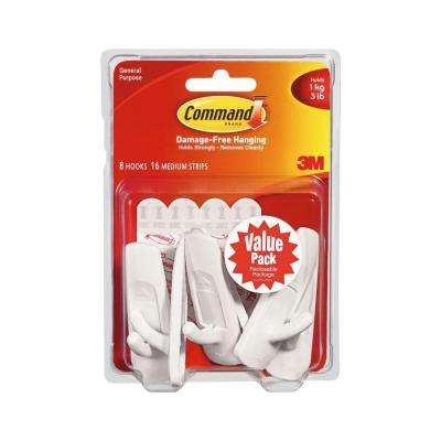 Medium White Utility Hook Value Pack (8 Hooks, 16 Strips)