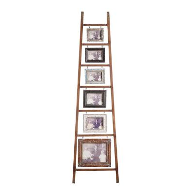 Brown Decorative Wood Ladder with 6-Hanging Photo Frames