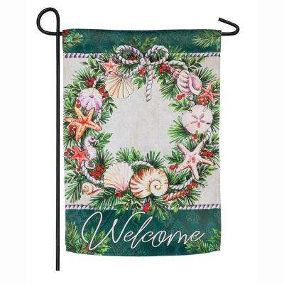 18 in. x 12.5 in. Holiday Coastal Wreath Garden Suede Flag