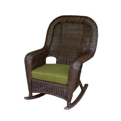 Sea Pines Java Wicker Outdoor Rocking Chair with Rave Kiwi Cushion