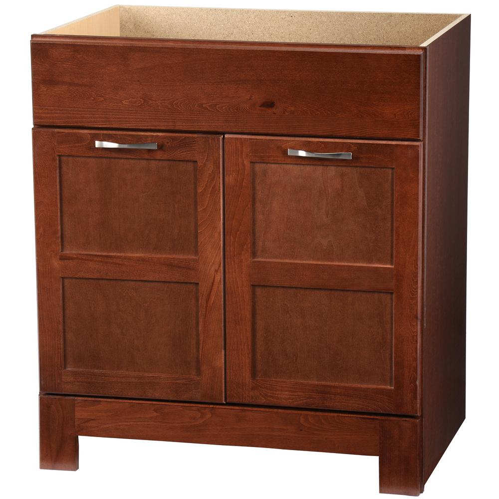 Glacier Bay Casual 30 in. W x 21 in. D x 33.5 in. H Bath Vanity Cabinet Only in Cognac