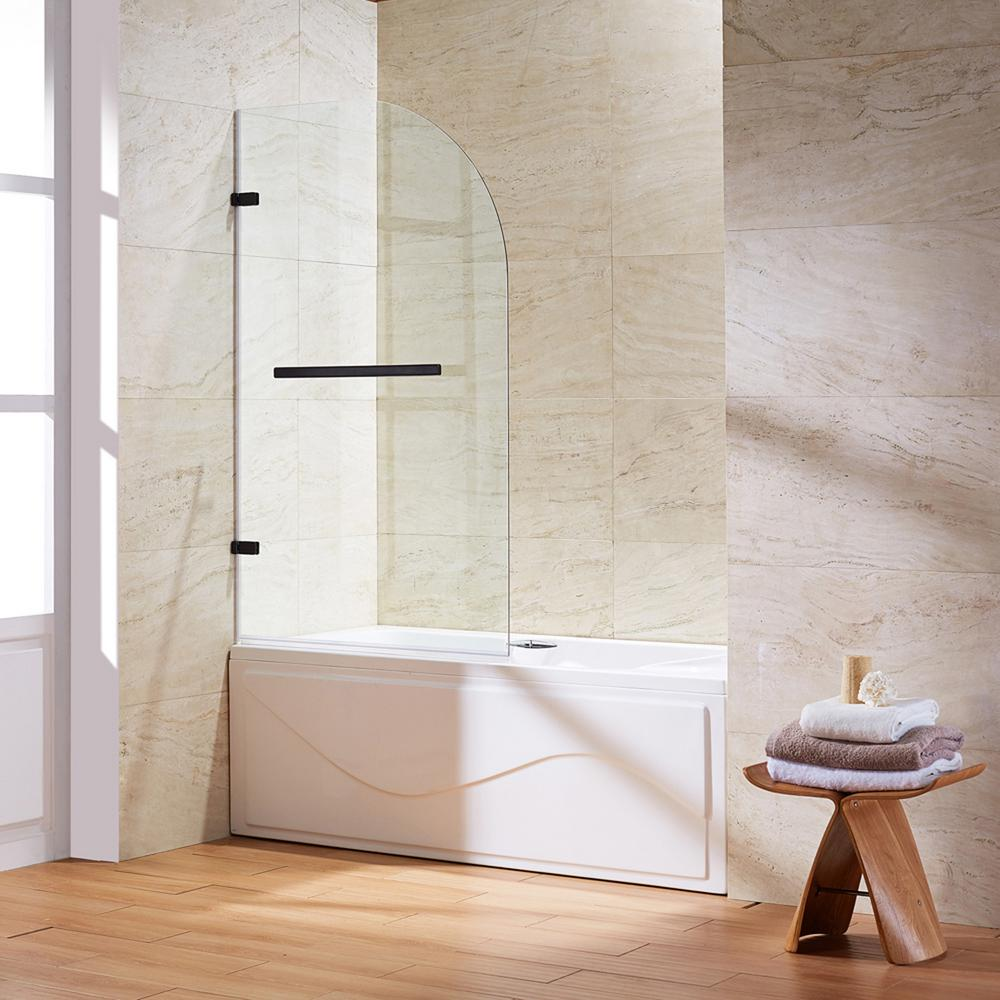 frameless curved pivot tubshower door in antique rubbed bronze with hardware and clear the home depot