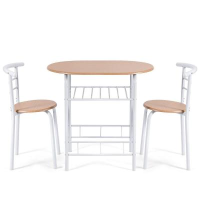 Brown 3-Piece Dining Set Bistro Table Set with Armless Chairs