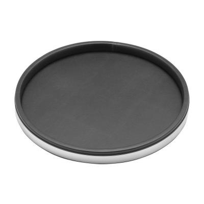 Sophisticates 14 in. Black Vinyl and Polished Chrome Round Serving Tray (Case of 12)