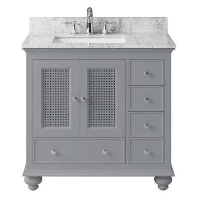 Aerin 35.28 in. W x 21.65 in. D x 33.86 in. H Bath Vanity in Taupe Grey with Marble Vanity Top in White with White Basin