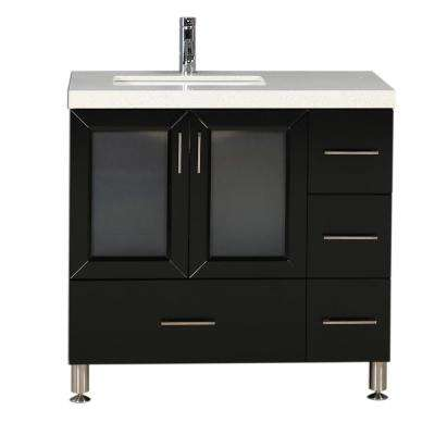Westfiled 36 in. W x 22 in. D Vanity in Espresso with Quartz Vanity Top in White with White Basin