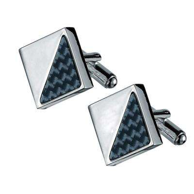 Moretti Carbon Fiber and Silver Plated Square Cufflinks