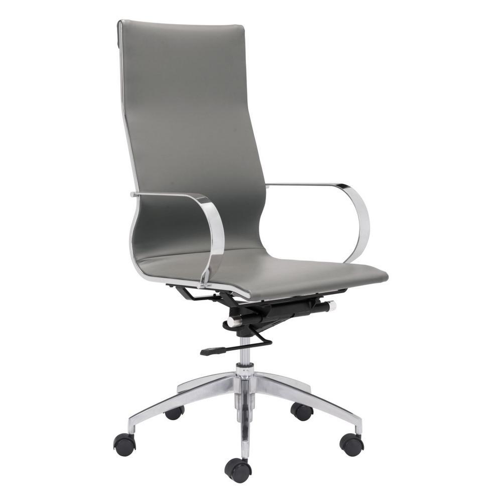 Julia Gray Leatherette Chromed Steel High Back Office Chair