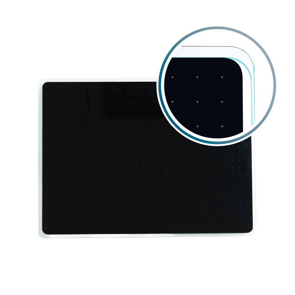 Viztex® Glacier 30 in. x 40 in. Black Multi-Purpose Grid Glass Dry Erase Board
