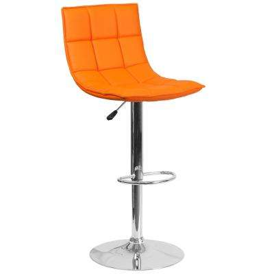 Adjustable Height Orange Cushioned Bar Stool