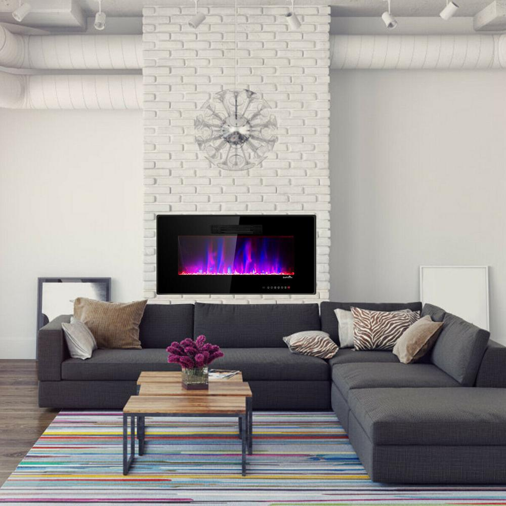 Costway 6 In W Recessed Electric Fireplace In Wall Or Wall Mounted Electric Heater In Black