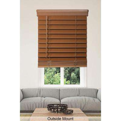 Cut to Width Maple Cordless 2.5 in. Premium Faux Wood Blind - 35 in. W x 64 in. L