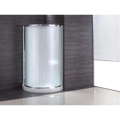 34 in. x 34 in. x 76 in. Shower Kit with Intimacy Glass, Shower Base and Wall in White