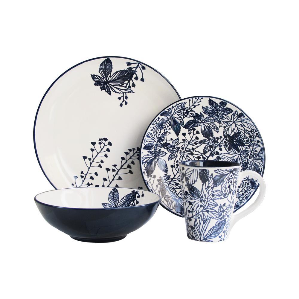 Floral Indigo 16-Piece Blue Dinnerware Set