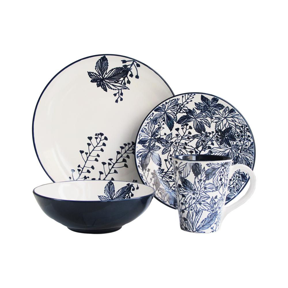 American Atelier Floral Indigo 16-Piece Blue Dinnerware Set  sc 1 st  Home Depot & American Atelier Floral Indigo 16-Piece Blue Dinnerware Set-6531-16 ...