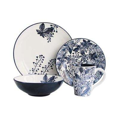 Floral Indigo 16-Piece Blue Dinnerware Set