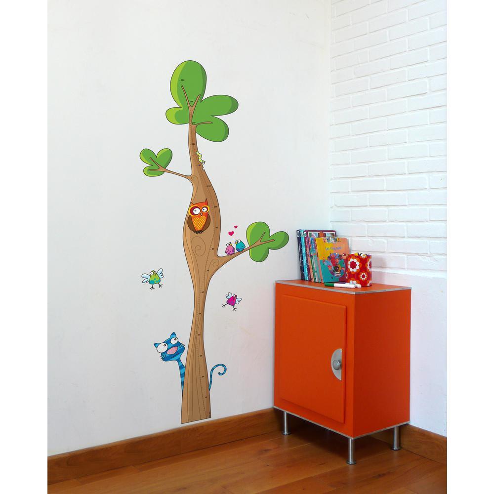 "(27 in x 67 in) Multi-Color ""Tree Height Gauge"" Kids Wall Decal"