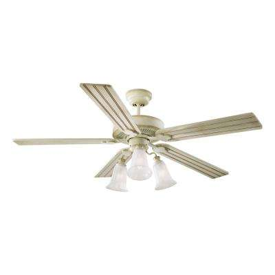 Old School 52 in. Distressed White Ceiling Fan with Light Kit