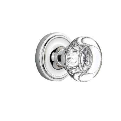 Classic Rosette 2-3/4 in. Backset Bright Chrome Privacy Round Clear Crystal Glass Door Knob