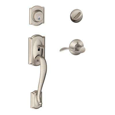 Camelot Satin Nickel Single Cylinder Deadbolt with Accent Lever Door Handleset