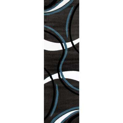 Contemporary Modern Wavy Circles 107 Gray Indoor 2 ft. x 7 ft. Area Runner Rug