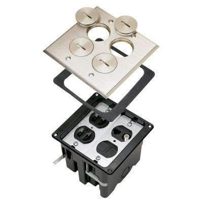 Slater Nickel 2-Gang Floor Box with Tamper-Resistant Receptacles and Cat5e