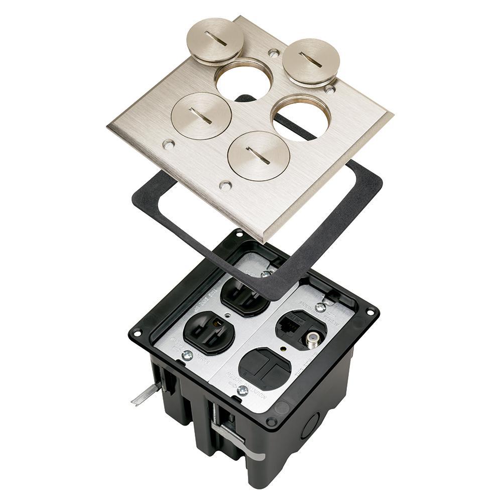 Slater Nickel 1-Gang Floor Box w//Tamper-Resistant Single Receptacle for Wood Sub