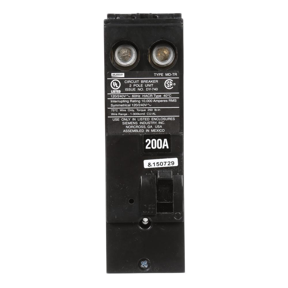 200 Amp 10 kA Type MD-T Double-Pole Reverse Handle Circuit Breaker
