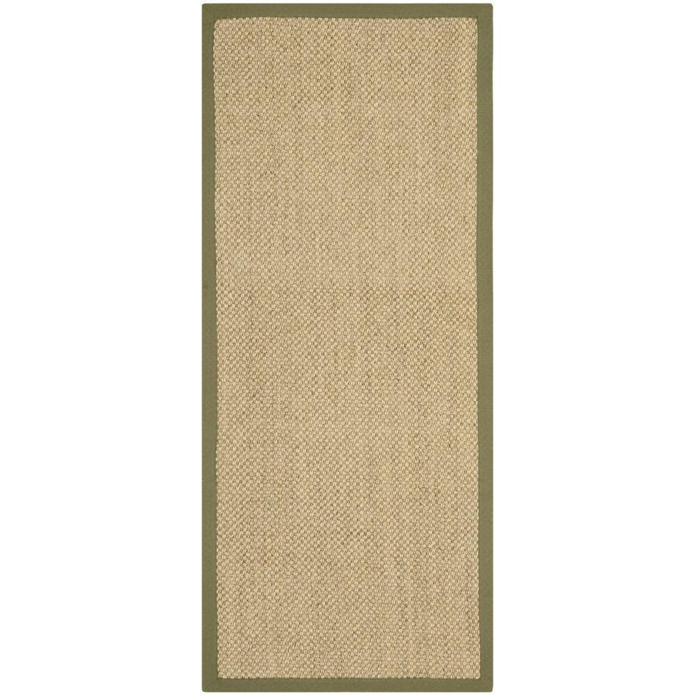 Natural Fiber Beige/Green 2 ft. 6 in. x 6 ft. Runner