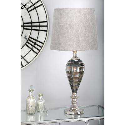 34 in. Gray Faceted Urn-Shaped Table Lamp with Silver Accents