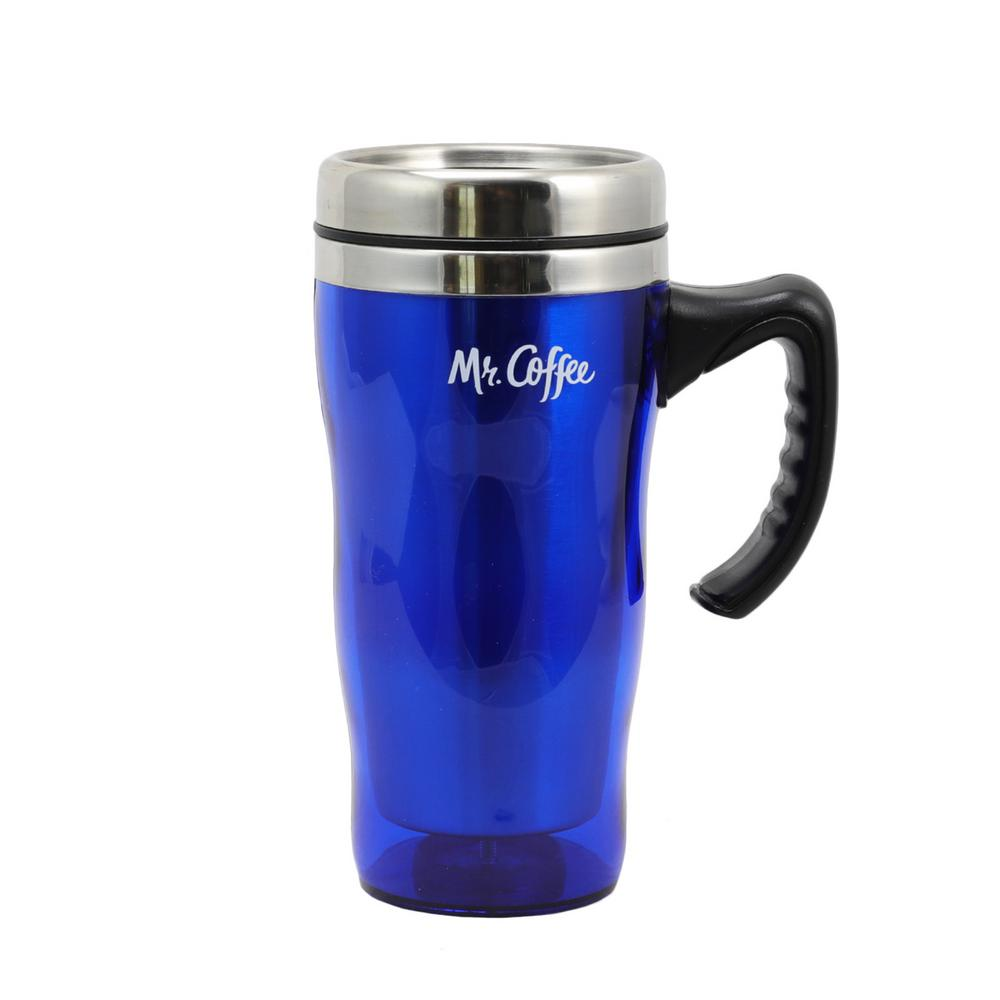 21033802f54 Mr. Coffee Morning Fix 15 oz. Blue Stainless Steel Travel Mug 98586623M -  The Home Depot