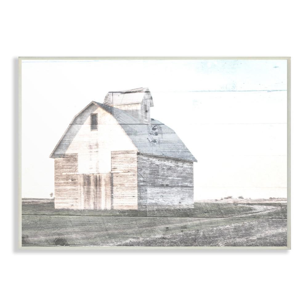 10 in. x 15 in. '' Rustic Bright White Barn in a Field'' by Milli Villa Wood Wall Art
