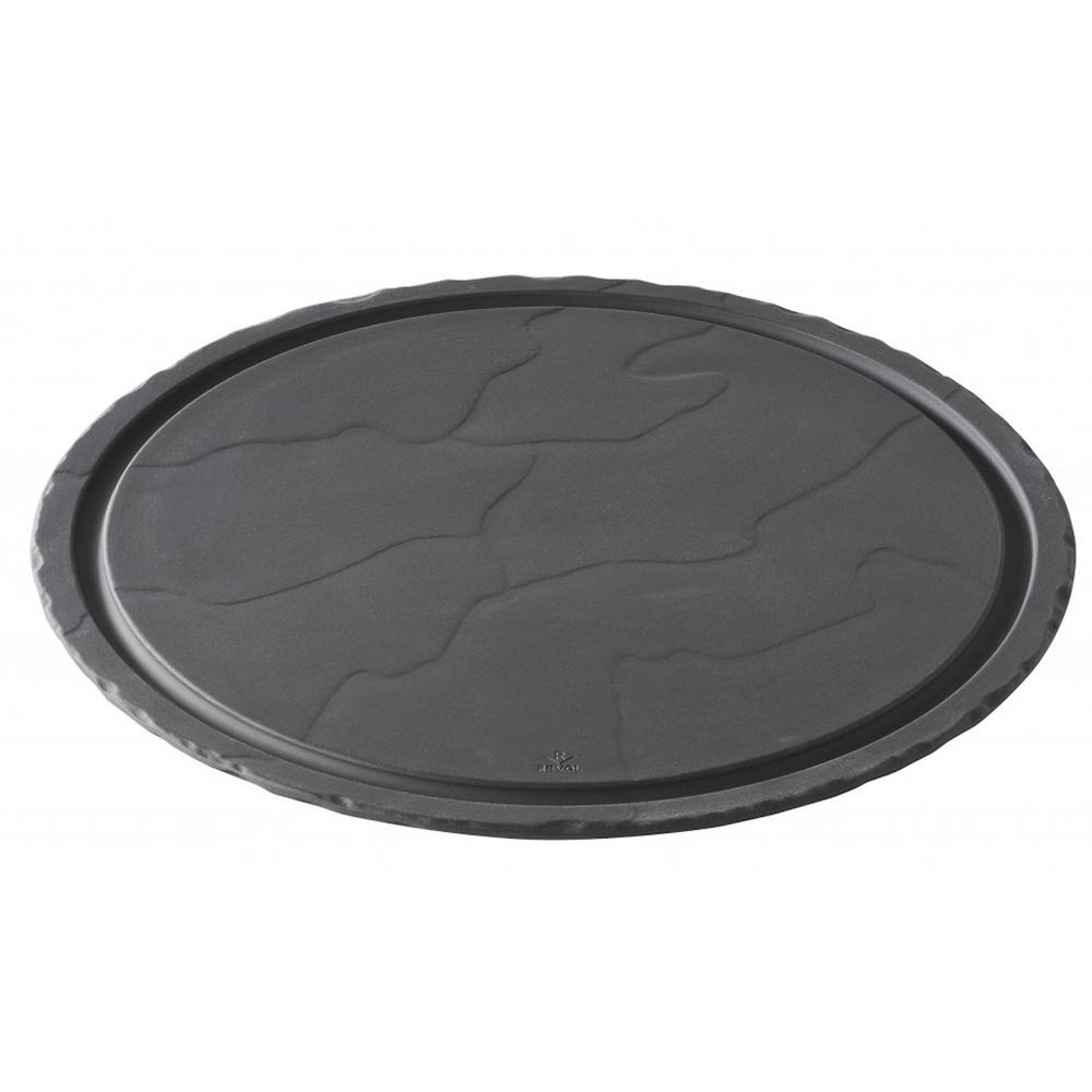 Basalt Matte Slate Porcelain 11.75 in. Round Plate with Clear Glass