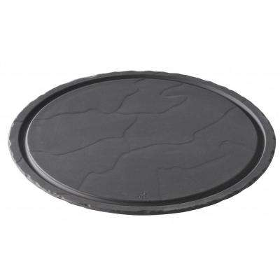 Basalt Matte Slate Porcelain 11.75 in. Round Plate with Clear Glass Dome