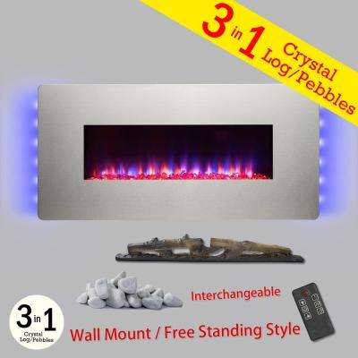 48 in. Wall Mount Freestanding Convertible Electric Fireplace in Stainless Steel w/ Pebble, Log, Crystal, Remote Control
