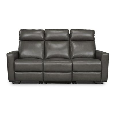 Nuovo 3-Piece Gray Leather Power Motion Reclining Sofa Love Seat and Recliner