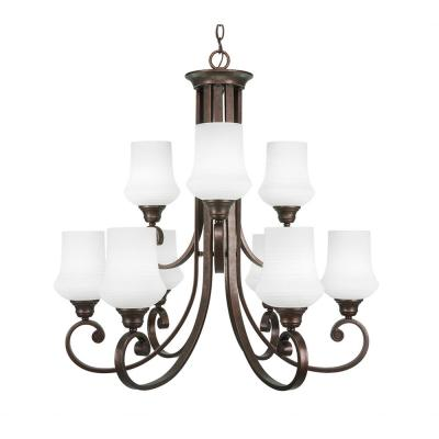 9-Light Bronze Chandelier with Zilo Cayenne Linen Glass Shade