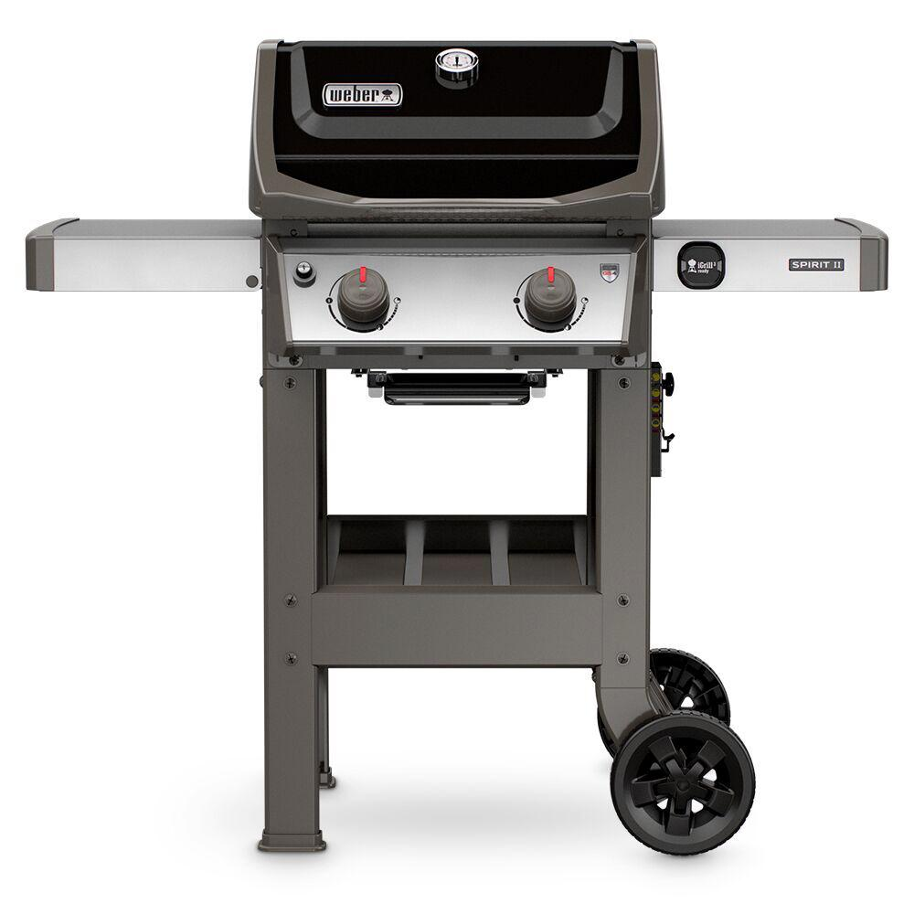 weber spirit ii e 210 2 burner propane gas grill in black 44010001 the home depot. Black Bedroom Furniture Sets. Home Design Ideas