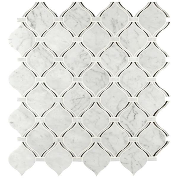 Danza Arabesque 10.94 in. x 10.19 in. x 8mm Polished Marble Mesh-Mounted Mosaic Tile (7.8 sq. ft. / Case)