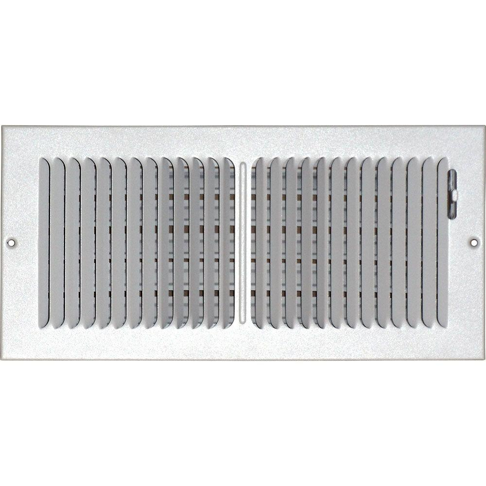 SPEEDI-GRILLE 6 in  x 14 in  Ceiling/Sidewall Vent Register, White with  2-Way Deflection