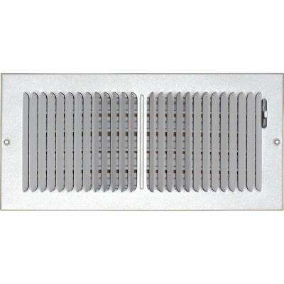 6 in. x 14 in. Ceiling/Sidewall Vent Register, White with 2-Way Deflection