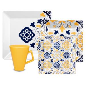 Quartier Blue and Yellow 16-Piece Casual Blue and Yellow Porcelain Dinnerware Set (Service for 4)
