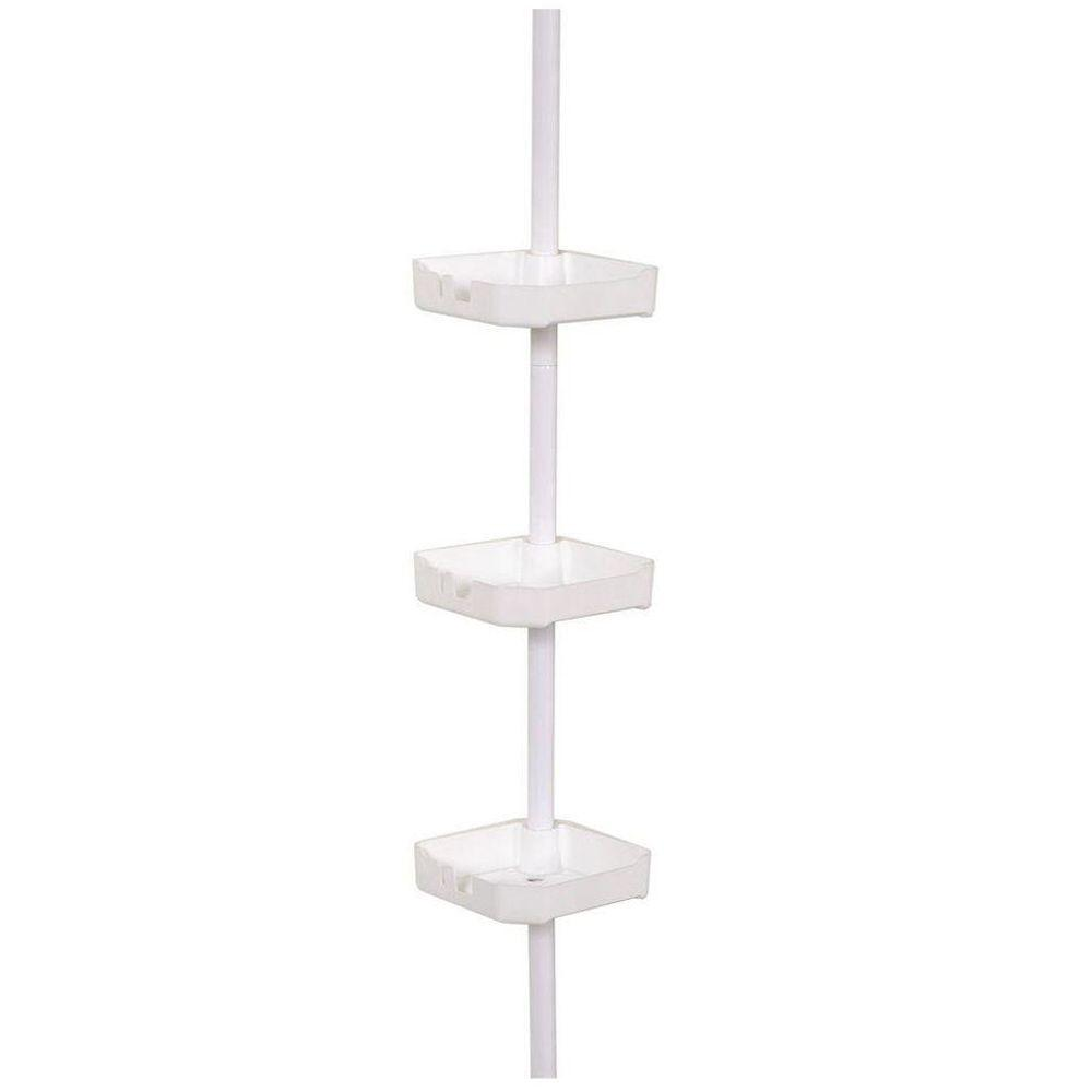Zenna Home Tub and Shower Tension Corner Pole Caddy with 3 Shelves ...