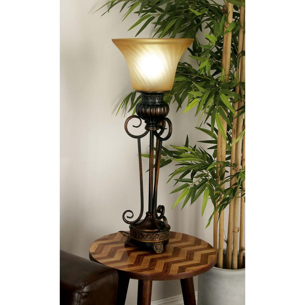 Litton Lane 30 In. Rustic Elegance Brown Iron And Gold
