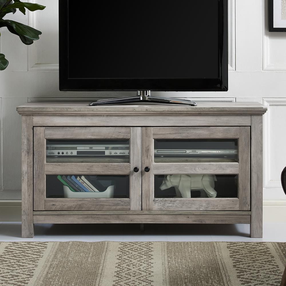 Walker Edison Furniture Company 44 In Grey Wash Transitional 2 Door Wood Tv Media Stand