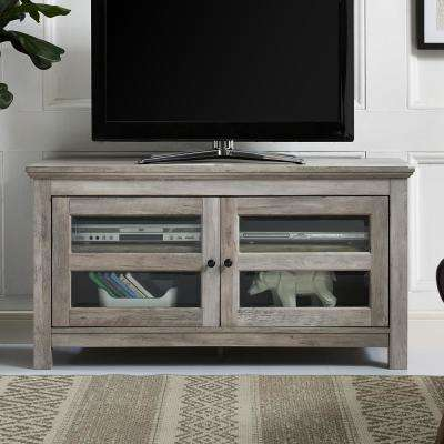 44 in. Grey Wash Transitional 2 Door Wood TV Media Stand Storage Console